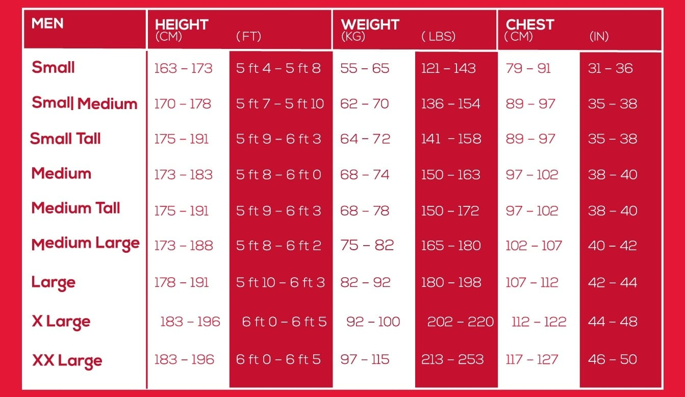 Suit Size Calculator Height Weight Erkalnathandedecker