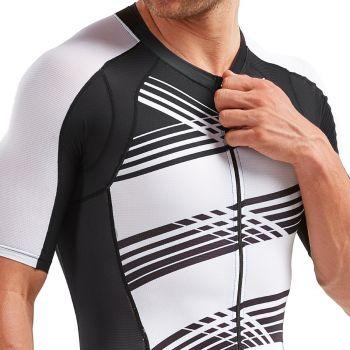 2XU Compression Sleeved full Zip Trisuit Herren - schwarz/weisse linien