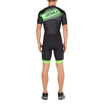 Compression Sleeved full Zip Trisuit Herren - 2XU - schwarz/grün logo grafik