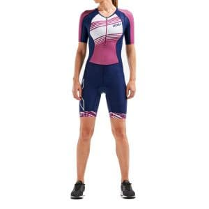 2XU Compression Sleeved Trisuit Damen - navy/very berry linien
