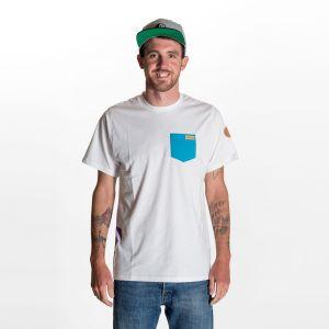 Kumu T-Shirt  Herren - endless local - weiss/petrol