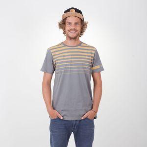 Honua T-Shirt  Herren - endless local - grau/honig streifen