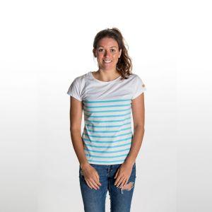 Lalani T-Shirt Damen - endless local - weiss/blaues Streifen