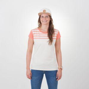 Laina T-Shirt Damen - endless local - weiß/koral