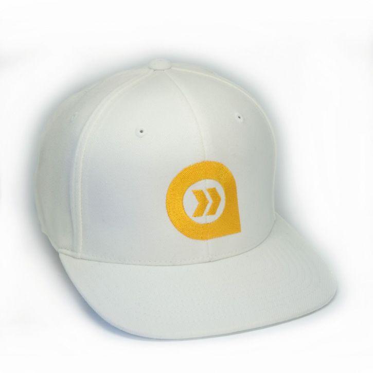 Snap Back 6 panel Kappe unisex - IXAULT - milch weiß/gelbes logo
