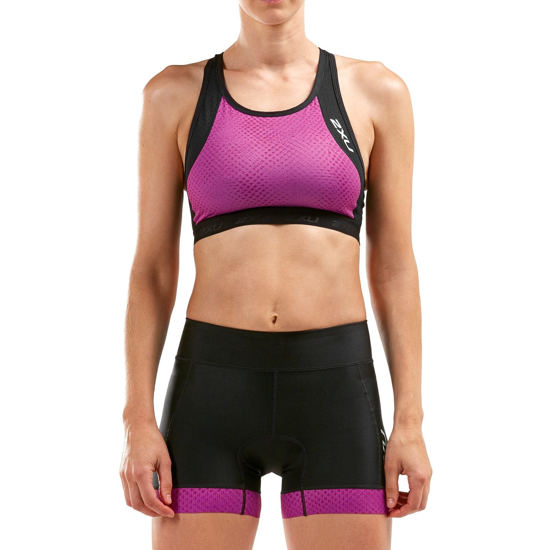 2XU Perform Triathlon Crop Damen - schwarz/very berry mesh