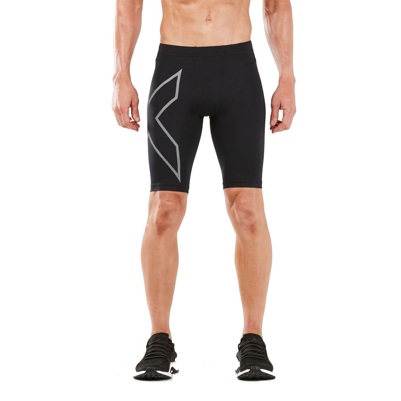 2XU Homme Run Compression Short Pantalon Pantalon Noir Argent Sports