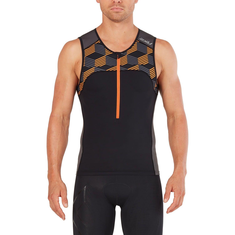 Active Triathlon Oberteil Herren - 2XU - schwarz/retro orange
